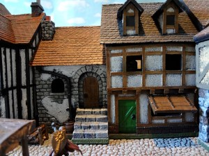 Two miniature buildings as one from Miniature Building Authority with its double townhouse