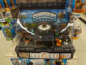 Clear plastic dome of a Skylanders demo unit in a Kmart