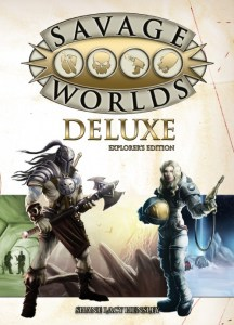 Cover of role playing game system Savage Worlds showing spacefarer and fantasy warrior