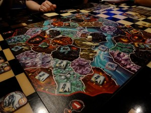 Board game Small World with Drow clustered in the corner