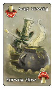 Green goblin drawn by Mike Maihack stirs his pot of Earwax Stew for rhyming card game Goblins Drool Fairies Rule!