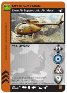 Small light Cayuse helicopter displayed on orange-backed card for P.O.W.E.R. game