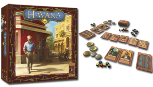 Cover art for Havana from 999 Games and game components displayed
