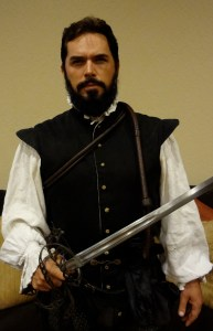 Don Pedro Menéndez de Avilés portrayed by St. Augustine resident Chad Light from 1565 with David Baker sword