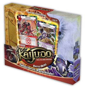 Product box for Kaijudo BattleDeck revealing foil-embossed cards for Tatsurion and Razorkinder