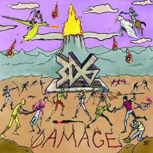 Classic and poorly drawn RPG warriors battling on cover of Damage album by 3d6