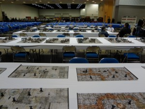 Empty playing tables stretch into the distance at Gen Con on Wednesday night