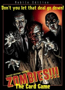 Three zombies menace the viewer on the box art for Zombies!!! the Card Game