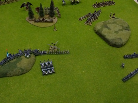 High Elves versus Undead in Warmaster Game at Gen Con in tiny scale