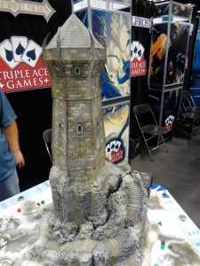 3D Miniature Terrain Piece of Giant Tower on Rock Outcropping Called Iceblade Keep for Hellfrost at Gen Con