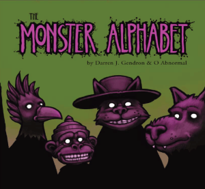 Four shadowy monsters on cover of The Monster Alphabet including Scottish Cu Sith, Tanuki, Varana, and Ibong Adarna