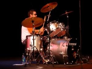 Nerd Punk Rocker Rudy Thomas Playing Ludwig Drums at Vegas Valley Comic Book Festival