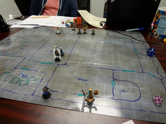 Miniatures on Dry Erase Map of Temple of Empyreal Enlightenment for Pathfinder Society