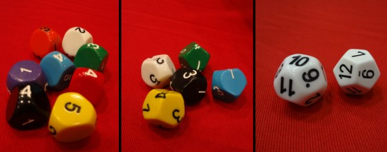Five-sided dice, seven-sided dice, and a D12 and D14 on red background