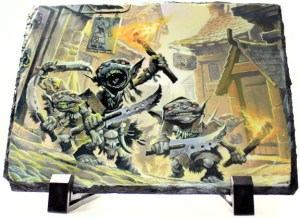 Goblin art image on stone Granix display slab showing Pathfinder image