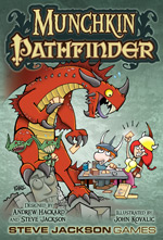Red dragon cartoon and pathfinder goblins battle Munchkin players on cover for Pathfinder Munchkin