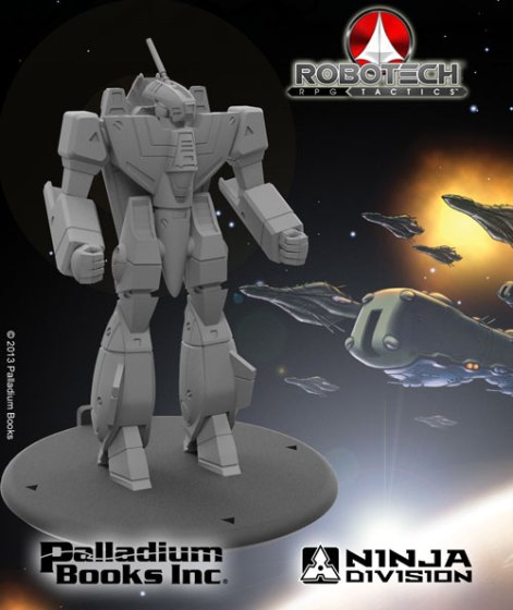 Resin sculpt of Robotech RPG Tactics VF-1A Valkyrie Miniature with UEDF Fleet in art background Palladium Books and Ninja Division