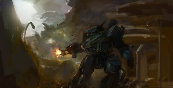 Concept Artwork of Heavy Gear Assault Gear Hunter Blazing Away at Enemy in Distance