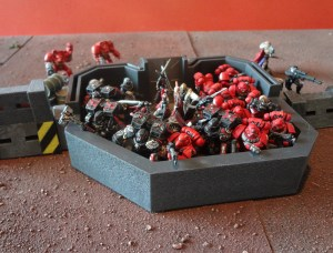 Closeup of prepainted AT-43 bunker with 22 Warhammer 40K figures crammed into it
