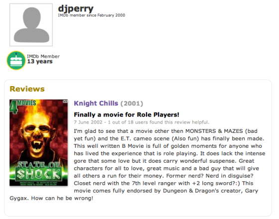 imdb review with name djperry at top and 10 stars for film Knight Chills