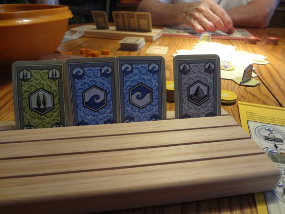 Resource cards from Attika in wooden Card-Boards Card Holders