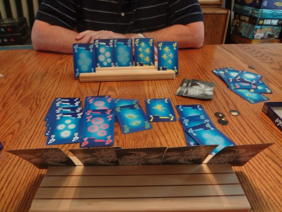 Game of Hanabi played using wooden Card-Boards card holders