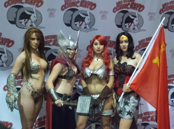 Cosplayers at Las Vegas Comic Expo show some skin, Jackie Goehner as Witchblade, Toni Darling as female Thor, Red Sonja, and Brieanna Brock as Red Son Wonder Woman