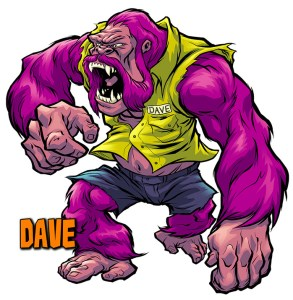 Giant purple Ape monster named Dave with handlebar mustache for Big Angry Monsters