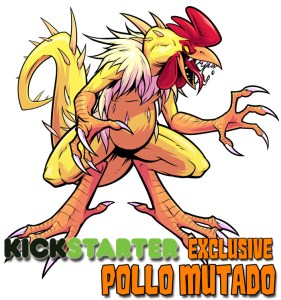 Monster artwork of mutated chicken with sharp razor talon hands and large tail called Pollo Mutado for Kickstarter