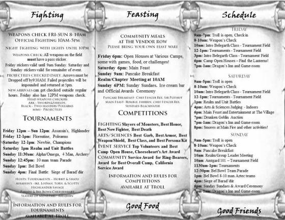 Battle for the Ring VI Feasting Fighting Schedule