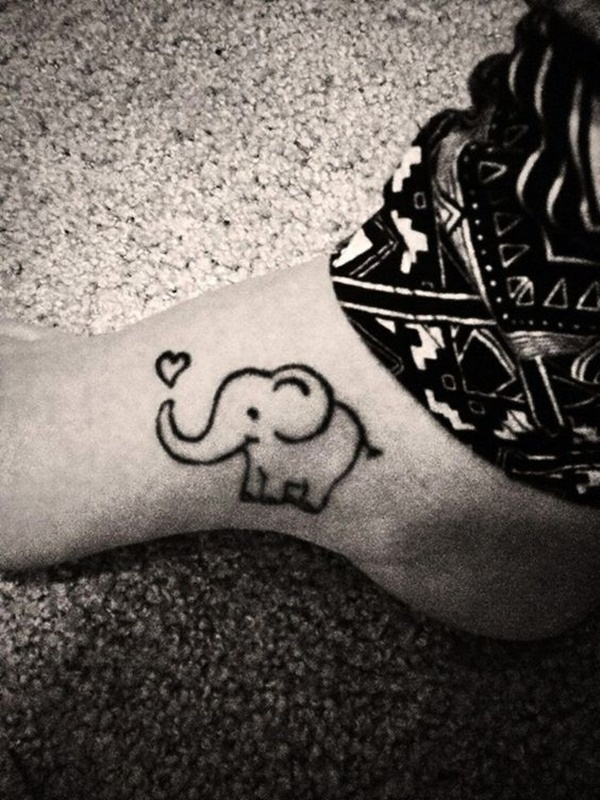 Cute Hairstyles Drawing Cartoon Elephant With Heart Tiny Elephant Tattoos