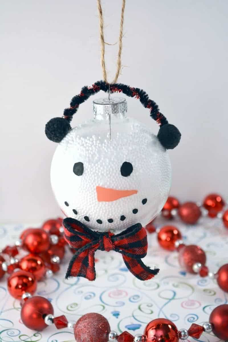 Indoor Easy This Handmade Snowman Ornament Is Kids Tomake Using Clear Snowman Ornament Using Clear Plastic Ball Fillable Ornaments decor Clear Christmas Ornaments