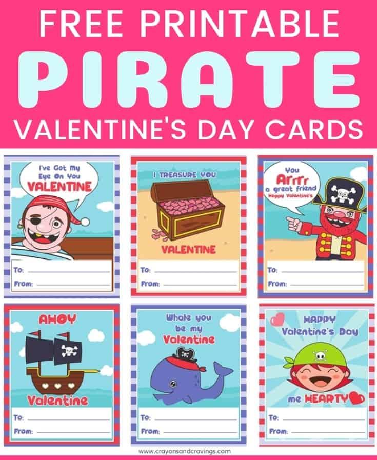 Pirate Valentines - FREE Printable Valentine\u0027s Day Cards for Kids