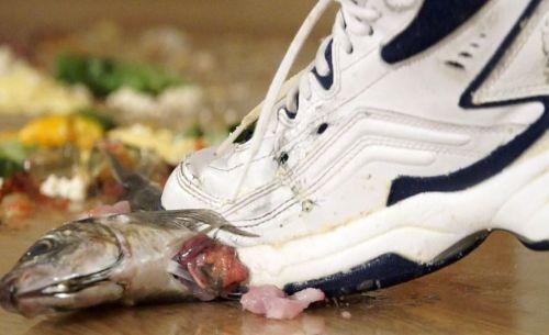 魚も踏むぞ!スニーカーで徹底的にぶちっと魚を引きちぎる!