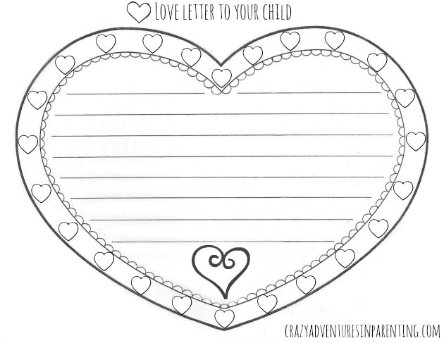 Love Letter to Your Child Valentine\u0027s Day Printable