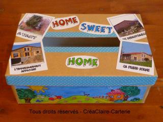 """Urne pour pendaison de crémaillère personnalisée avec dessins naïfs et photos """"home sweet home"""" - Ref: BOIT-001"""