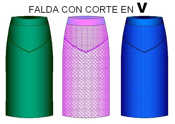 Tallaje para confeccionar falda corte V