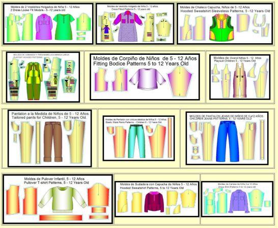Moldes de las 12 prendas infantiles mas usuales para niños y niñas de 5 a 12 años de edad.