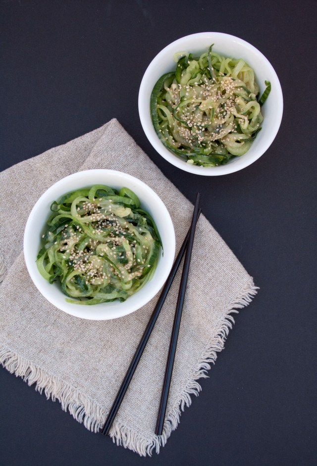 Miso Cucumber Noodles - These vegan gluten free noodles are light and healthy. This salad makes a great side dish or light lunch.