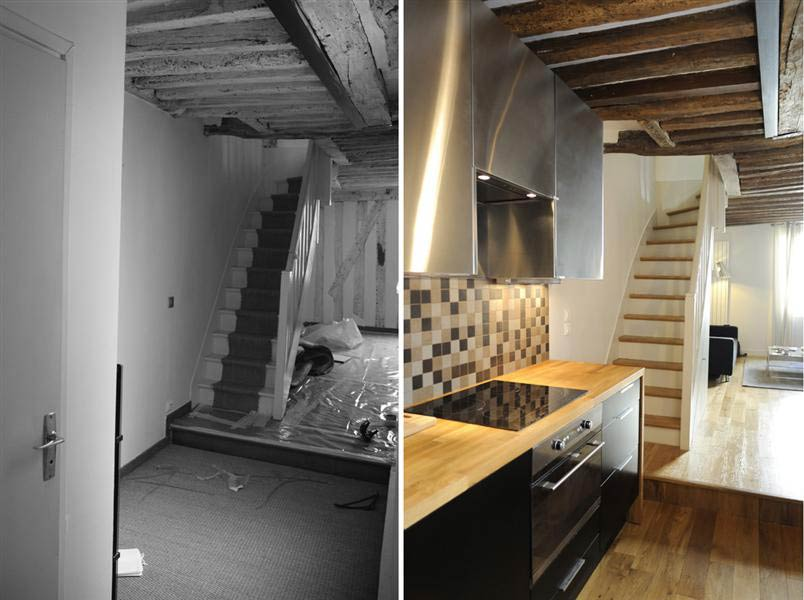 Amenagement Exterieur Maison Normande Rénovation D'un Appartement 3 Pièces En Duplex à Paris