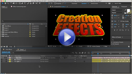Creation Title Effects for After Effects - animation title