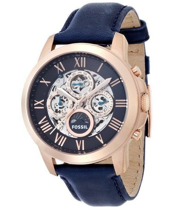 Armbanduhr Leder Fossil Grant Automatic Blue Skeleton Dial Blue Leather