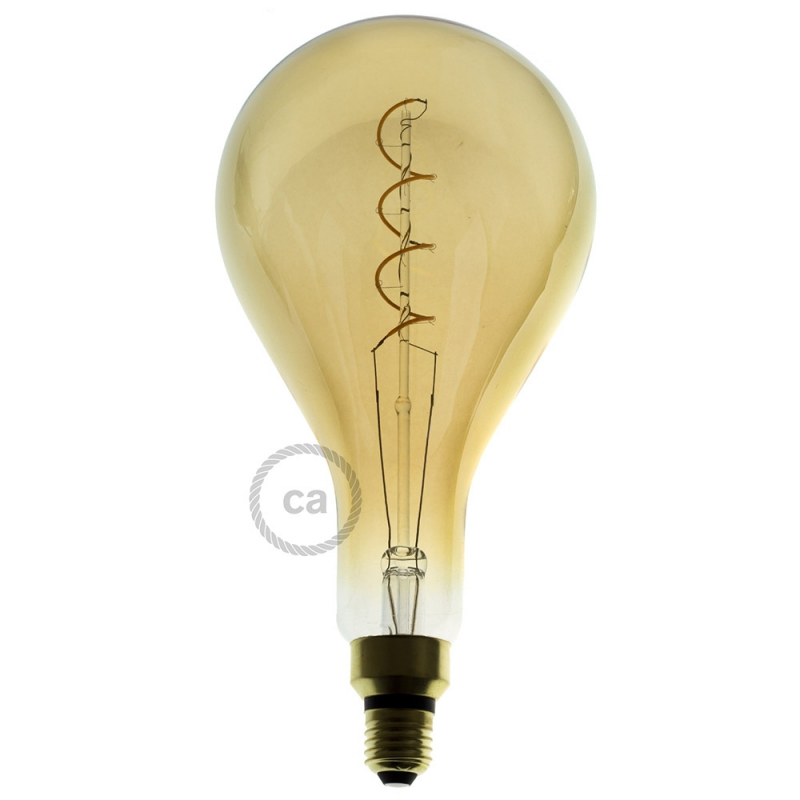 Edison Birne Xxl Led Golden Light Bulb - Pear A165 Curved Double Spiral