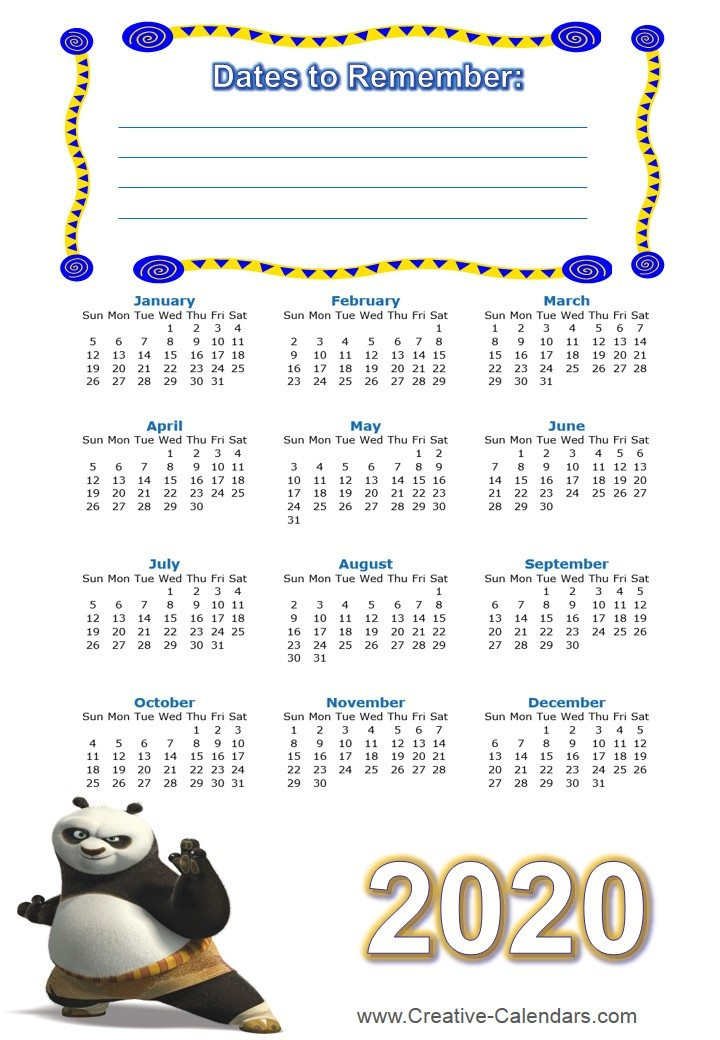2017 And 2018 Calendar Printable Free Printable Kung Fu Calendars