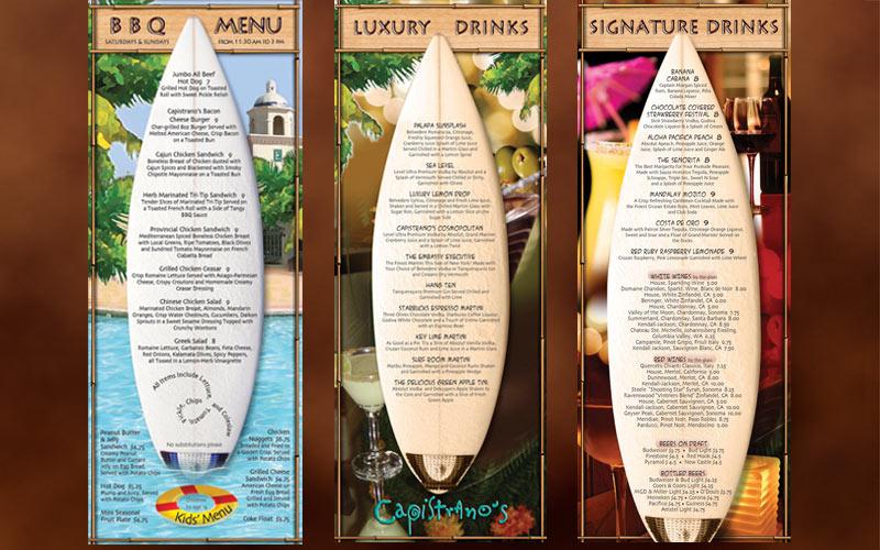 menu cards samples