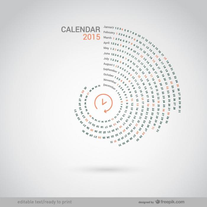 9 Free 2015 Calendar Templates Creative Beacon - circular calendar