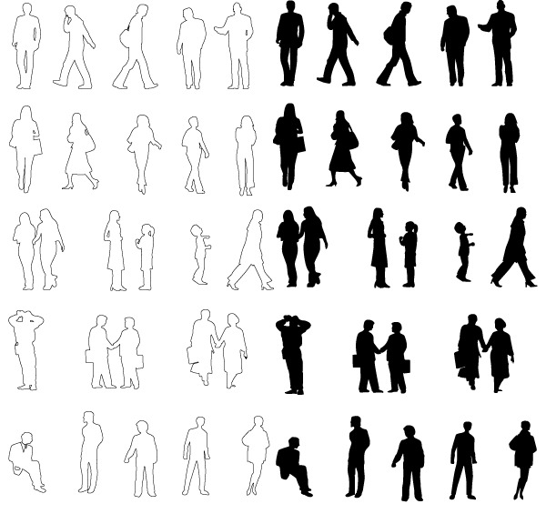 35+ Awesome People Silhouette Vector Sets - Creative CanCreative Can