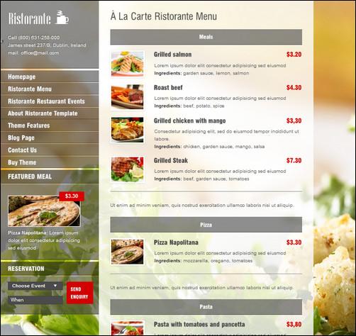 restaurants menus designs - Josemulinohouse - a la carte menu template