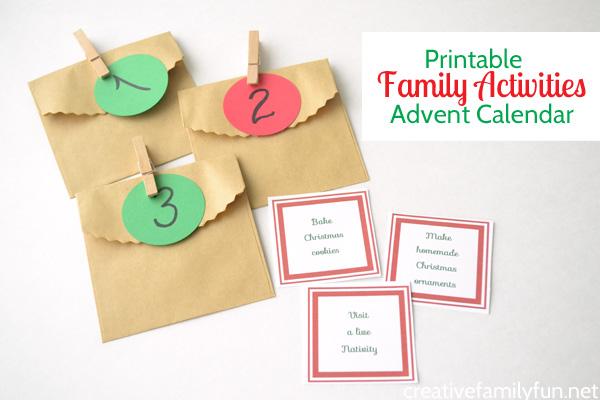 Printable Family Activities Advent Calendar - Creative Family Fun