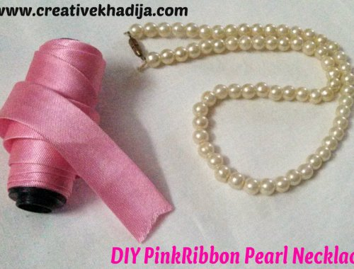 pinkribbon pearl necklace diy1